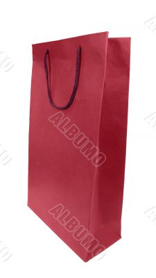 red paper bag isolated with clipping path