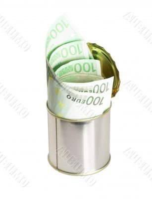 euro bills on a tin can