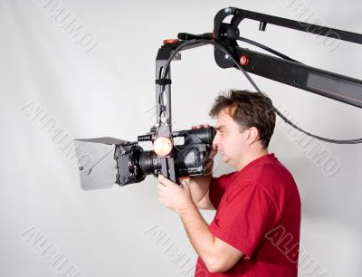 cameraman work with crane