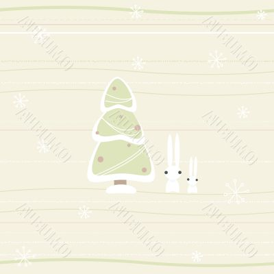 christmas card with pine and rabbits