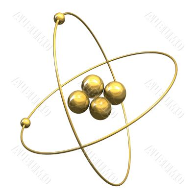 3d Helium Atom in gold