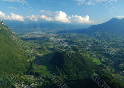Aerial view of the south valley of Chambery