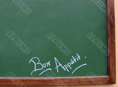 French restaurant greenboard