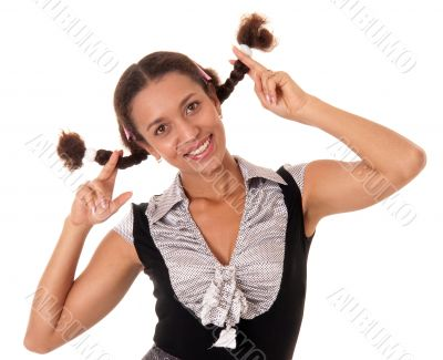 young woman with pigtails