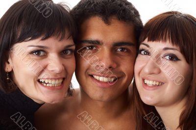 Portrait of three happy friends
