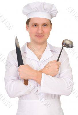 Cook with knife and ladle
