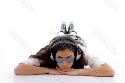 beautiful american woman with headphone