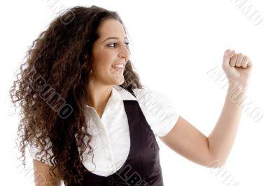 beautiful woman showing fist