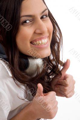 caucasian female wearing headphones