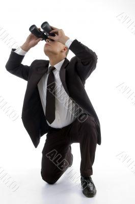 service provider watching through binoculars