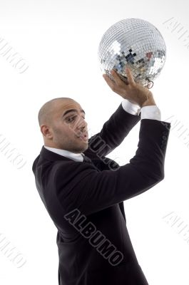 handsome young lawyer with disco ball