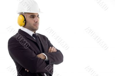 male architect wearing earmuff