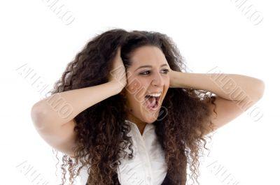 surprised caucasian female