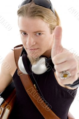 american student showing thumbs up hand gesture
