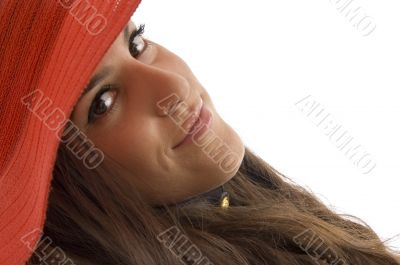 face of stylish female wearing hat