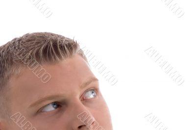 portrait of male looking upside