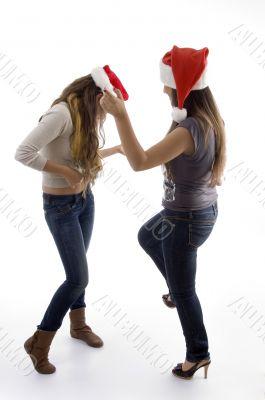 female celebrating christmas eve