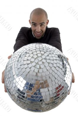 young accountant showing his disco ball
