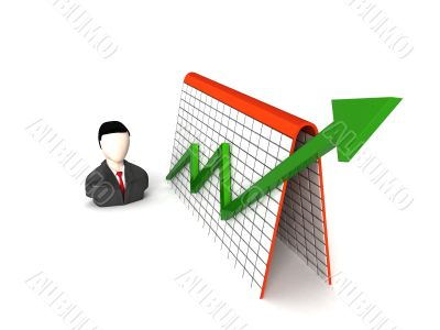 three dimensional businessman and profit graph
