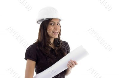female architect with helmet and blueprint