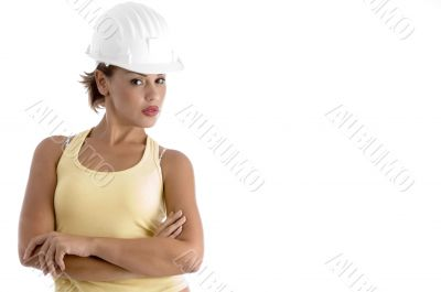 young woman with architect helmet