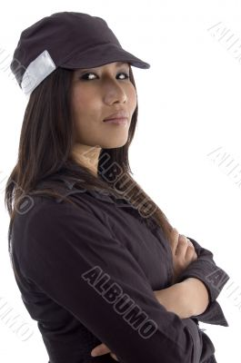 female security guard with folded arms