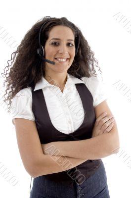 beautiful woman wearing headset