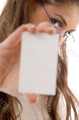 young businesswoman showing business card