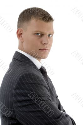 side view of handsome accountant