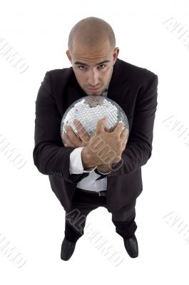 handsome young attorney hugging disco ball