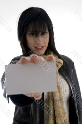 woman holding identity card