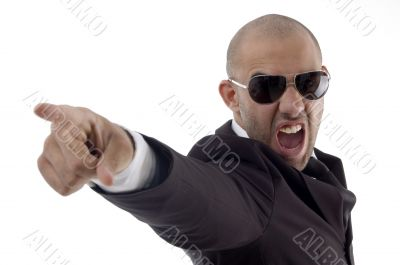 smart young executive shouting