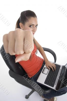 school girl with laptop showing you punch