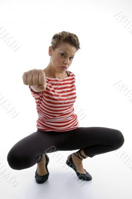 woman showing punch