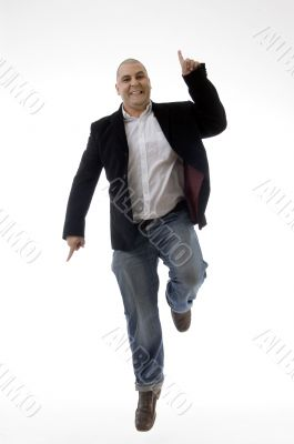 happy caucasian man enjoying dancing
