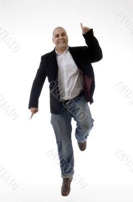 happy caucasian man enjoying dancing
