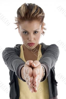 young woman joint hands