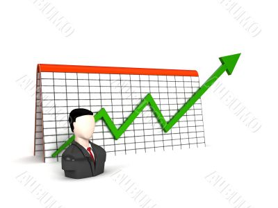 three dimensional man with profit graph