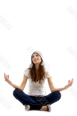 health conscious girl doing meditation