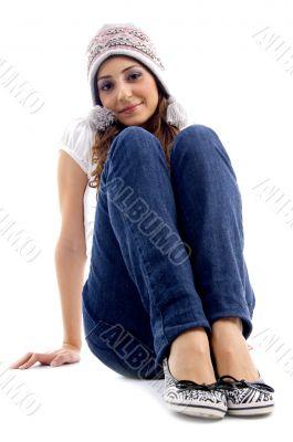 cute teens girl sitting on the floor