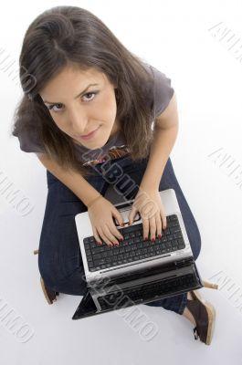 pretty woman working on laptop