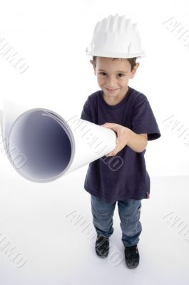 little architect wearing hardhat