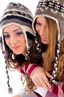 young pretty girls making fun together
