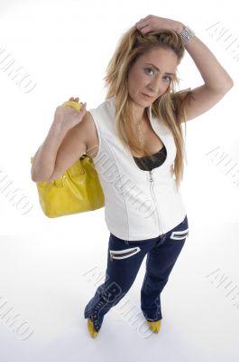 woman with hand bag