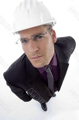 handsome architect wearing helmet
