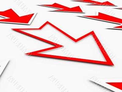 loss arrows in red color