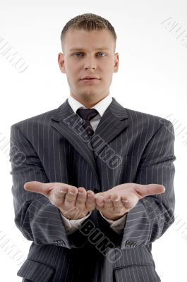 businessman showing begging gesture