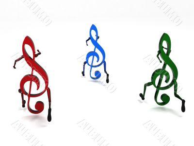 three dimensional musical notes