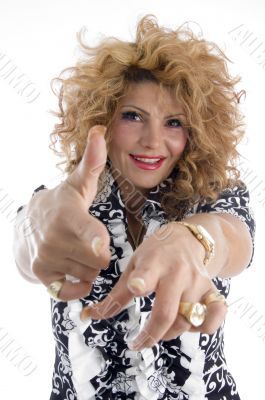 smiling adult female pointing you