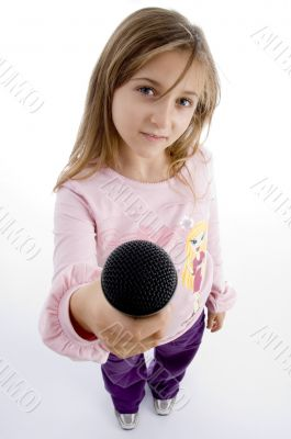 innocent girl showing microphone